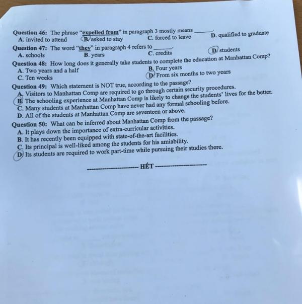 Đề thi môn tiếng Anh THPT Quốc gia 2019 mã đề 402