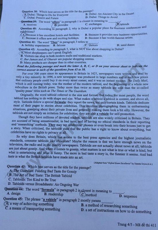 Đề thi môn tiếng Anh THPT Quốc gia 2019 mã đề 411