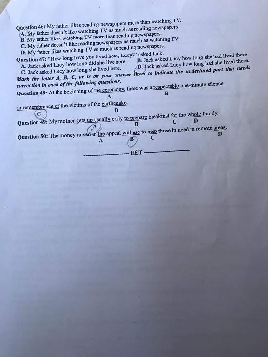 Đề thi môn tiếng Anh THPT Quốc gia 2019 mã đề 414
