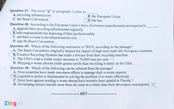Đề thi môn tiếng Anh THPT Quốc gia 2019 mã đề 417
