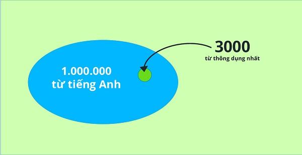 Tiếng Anh có tới hơn 1 triệu từ vựng, nhưng chỉ có 3000 từ được sử dụng thường xuyên.