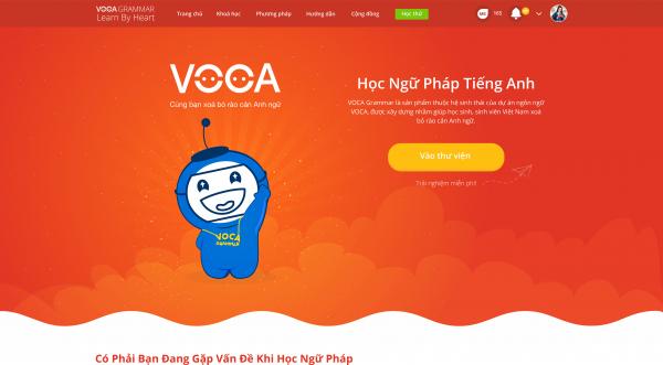 Giao diện trang học ngữ pháp VOCA