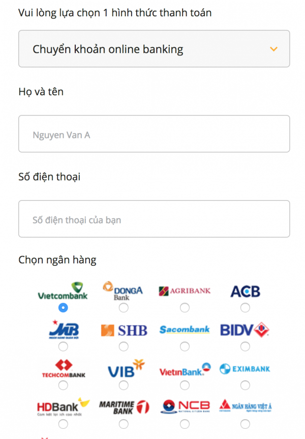 Thanh toán Online Banking